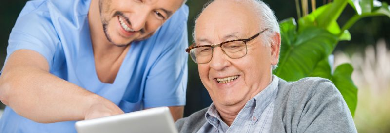 Elderly using tablet